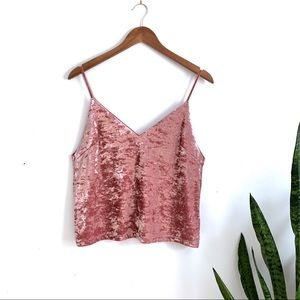F21 pink crushed velvet crop top spaghetti strap
